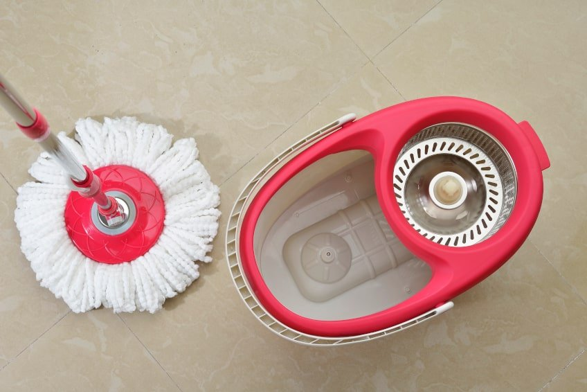 Red Spin Mop & Bucket