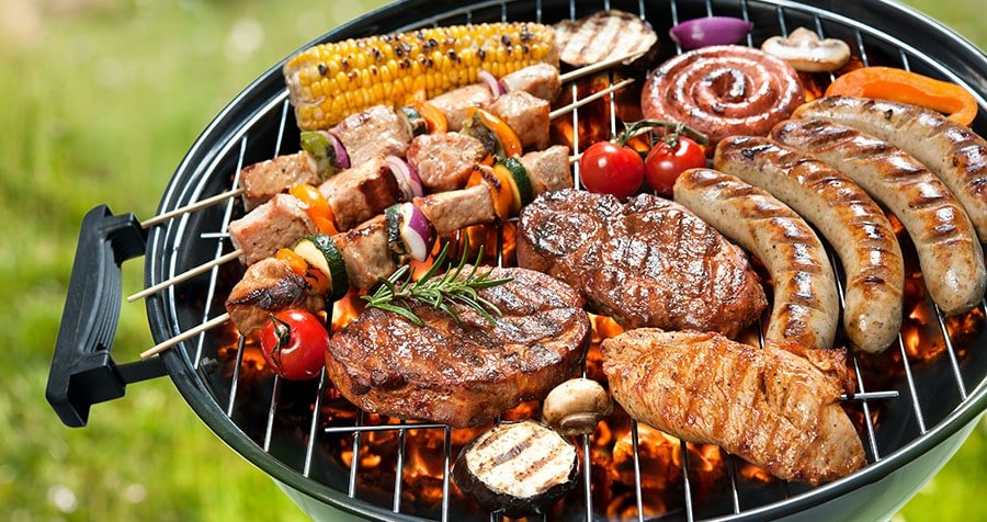 Nice dinner prepared on a clean BBQ grill