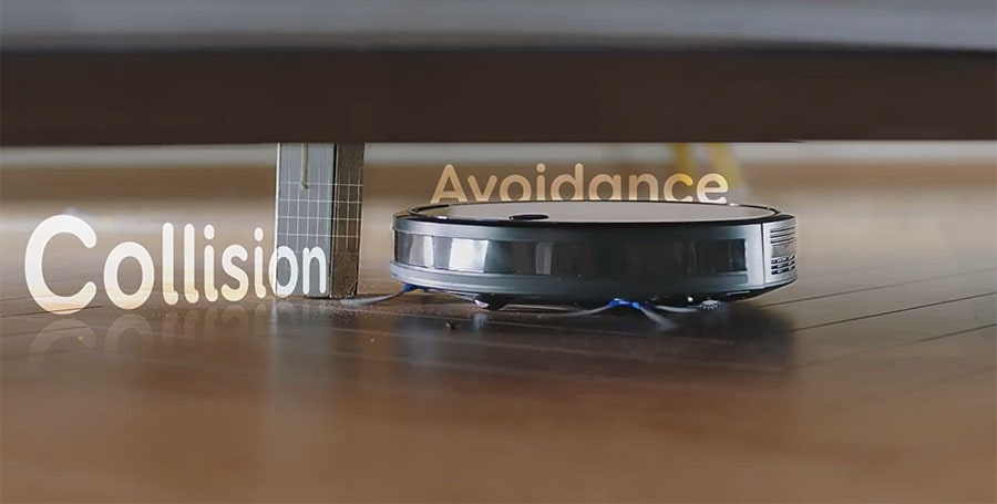 RoboVac has an obstacle avoidance system but isn't smart to handle complex cases.