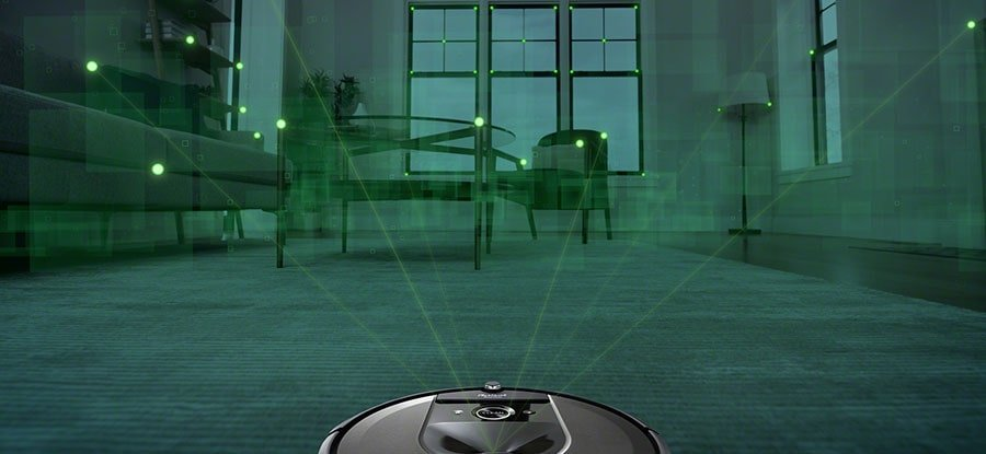Roomba i7+ uses a camera to detect the obstacles.