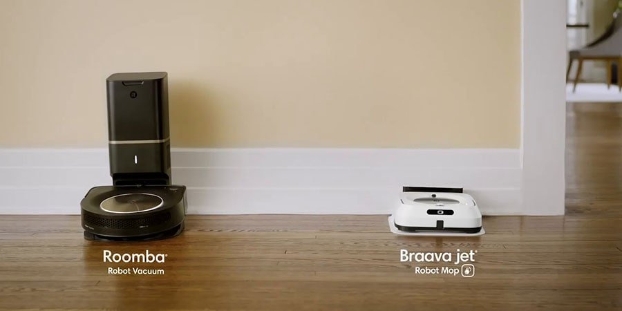 Imprint Link technology allows to pair Roomba s9 vacuum with Braave Jet m6 mop for the first truly automatic collaboration.