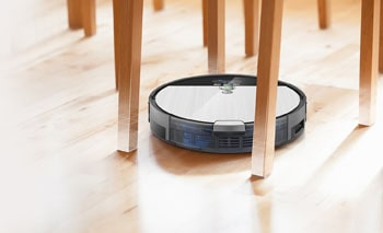 Robotic vacuums sometimes can't navigate out of tight corners when they're surrounded by a lot of furniture legs.