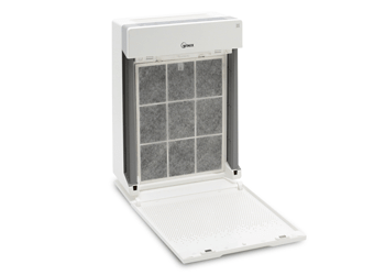 Dirty air filter in the air purifier.