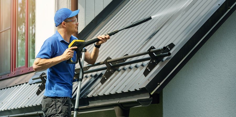 Be very careful operating pressure washer on a ladder or, better yet, do not do this at all.