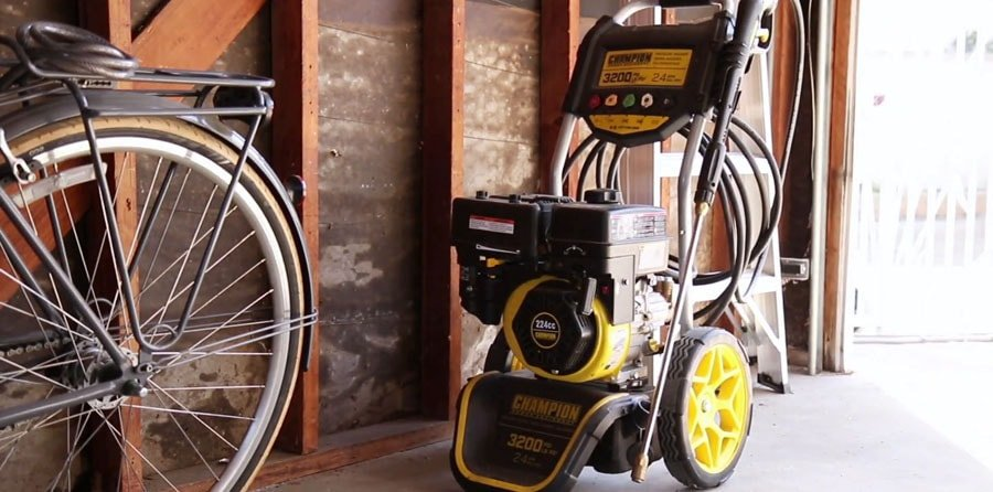 Gas Pressure Washer stored in a garage.