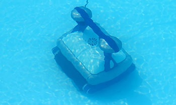 Cleaner on the bottom of a pool