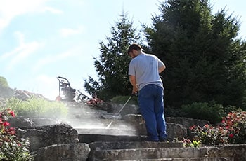 WEN's power washer cleans the steps.