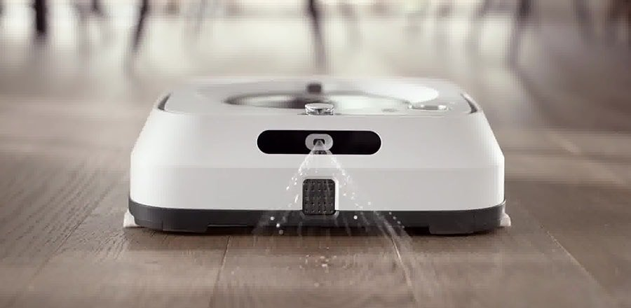 Braava Jet m6 cleans the stains on the hardwood floor.