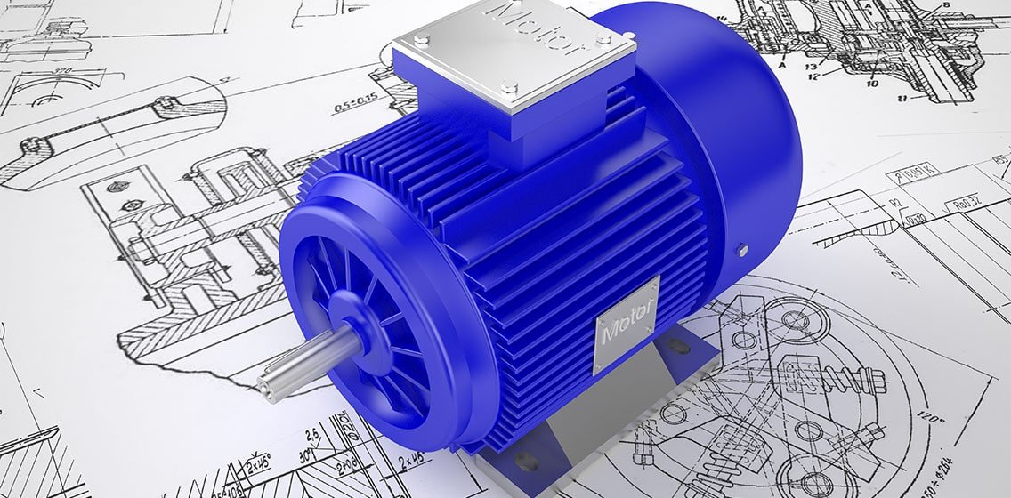 Rendered 3D image of an induction motor.